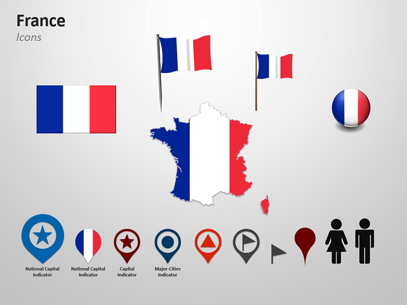PPT Map of France -Flag Themed Icons