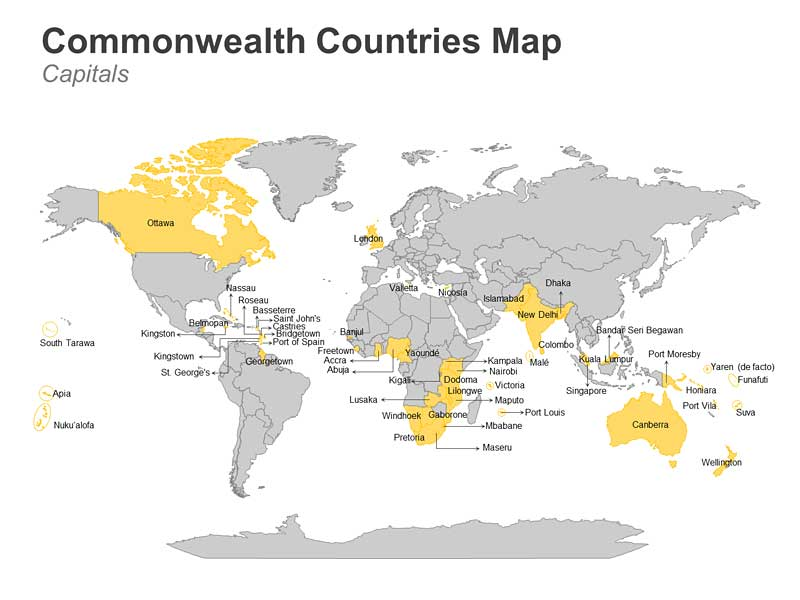 Commonwealth Countries with Capitals Map - Editable PPT Slide