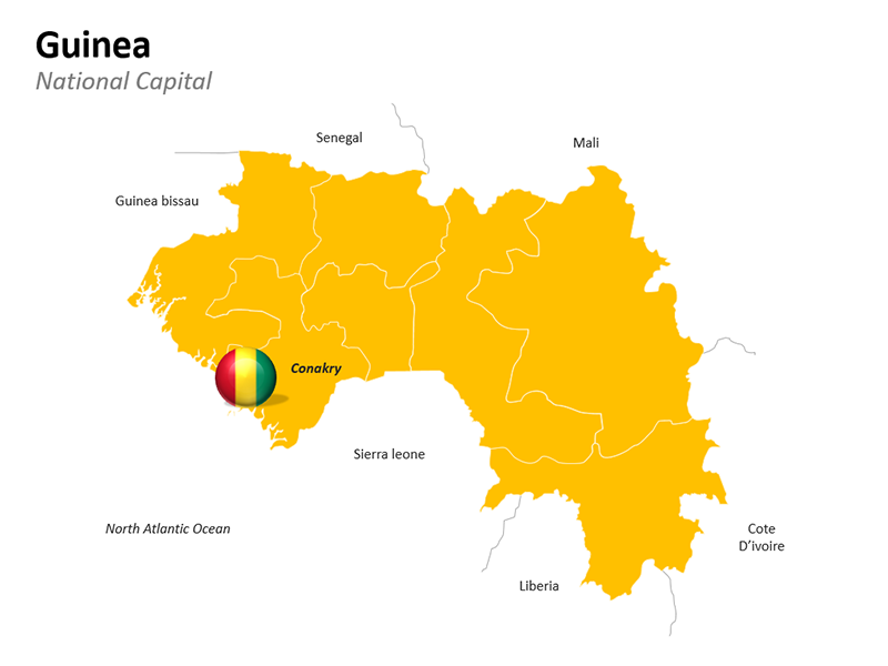 Guinea Map with National Capital Conakry - Editable PowerPoint Slide