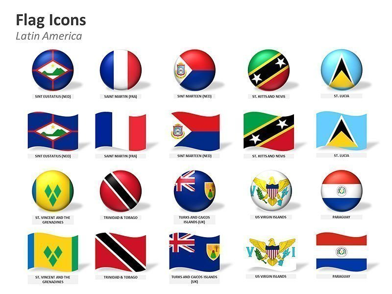 Latin American Country Flag Icons Map PPT Graphics