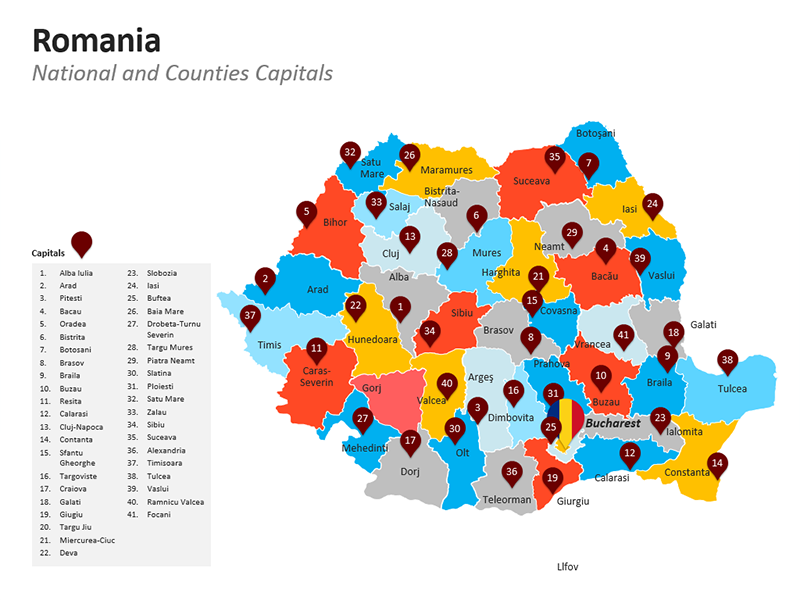 Counties of Romania Map PowerPoint Presentations