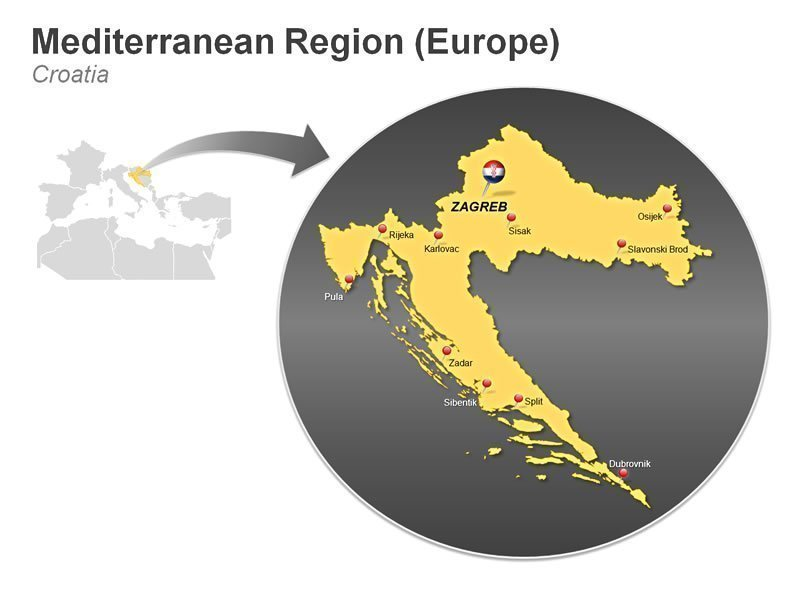 Editable PPT Graphics of Mediterranean Region of Croatia