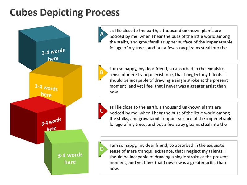 Cubes Depicting Business Process - PowerPoint Slide