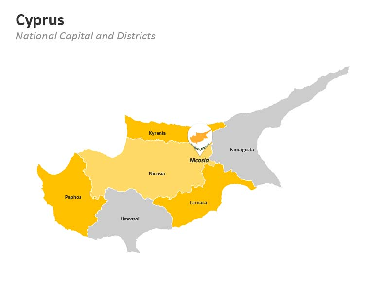 Map of Cyprus PowerPoint Slides - District