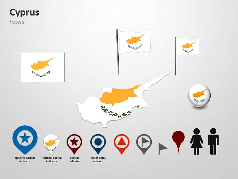 Cyprus Map and Flag Icons - PPT Cliparts