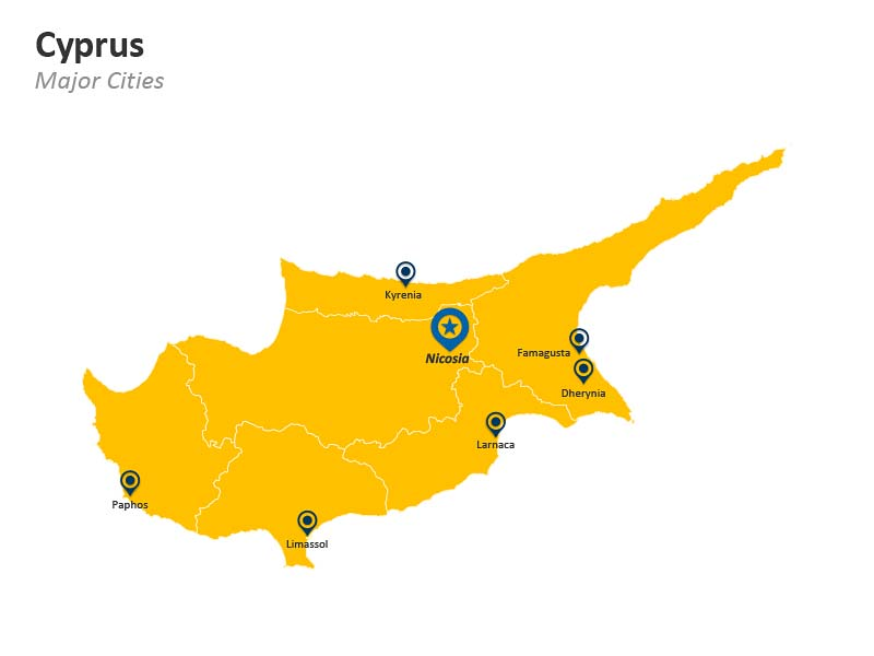 PowerPoint Map Cyprus Major Cities