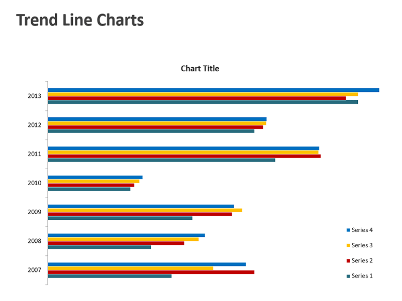 Horizontal Trend Line Chart - Editable PPT Slide