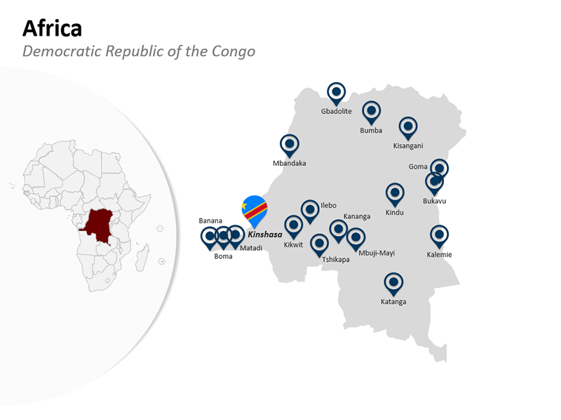 Africa Democratic Republic of the Congo Country Map in PowerPoint