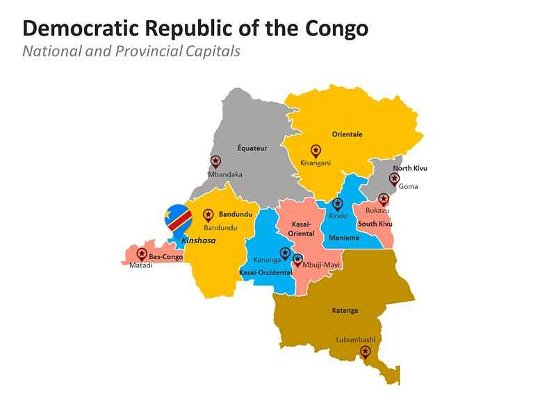 Democratic Republic of Congo Map with Provinces PPT Framework