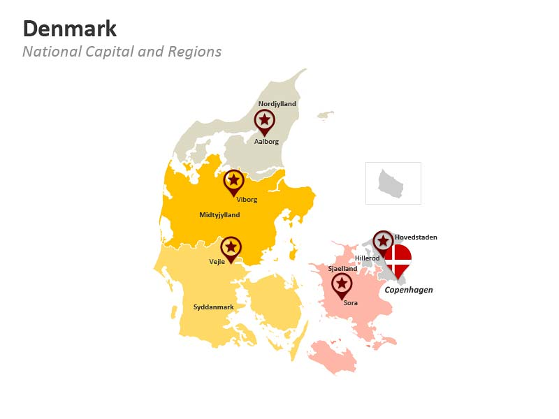 Denmark Map PPT Slides - Regions
