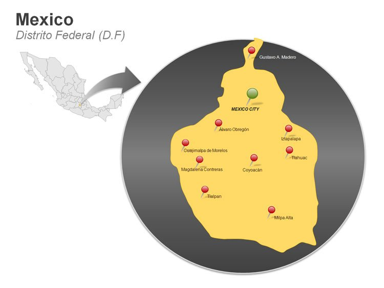 Map of Mexico PowerPoint Slides - Distrito Federal (D.F)