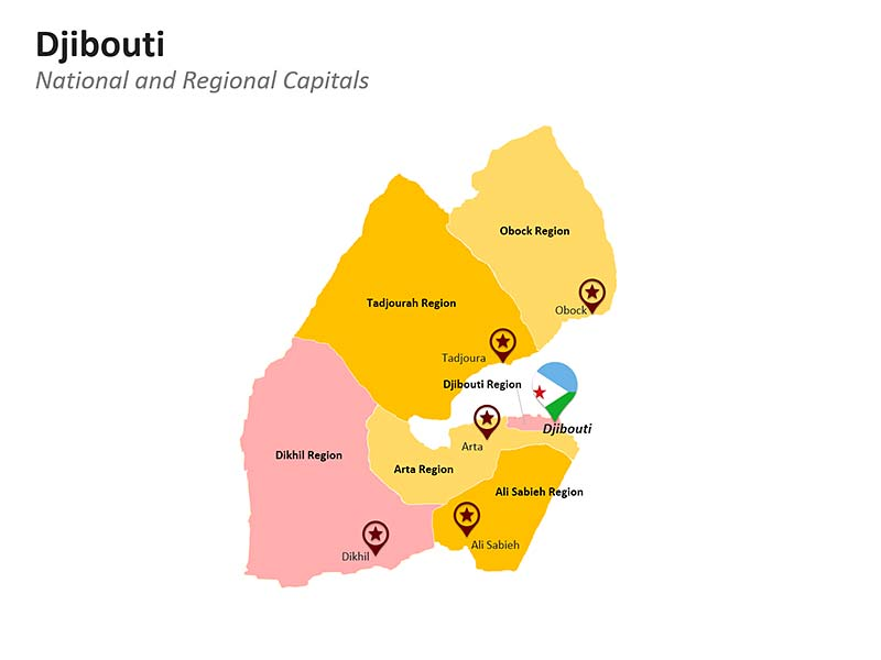 Djibouti Regions Map - PowerPoint Presentation
