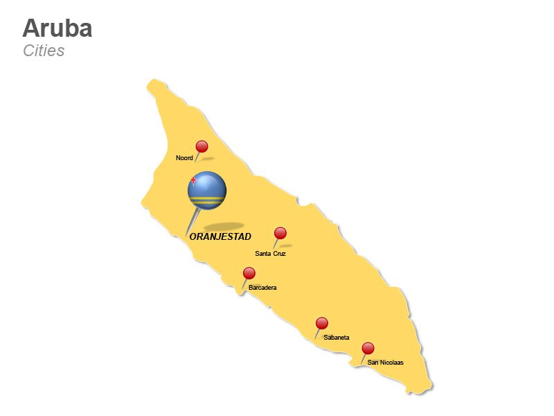 Aruba map featuring major cities - PowerPoint Slide