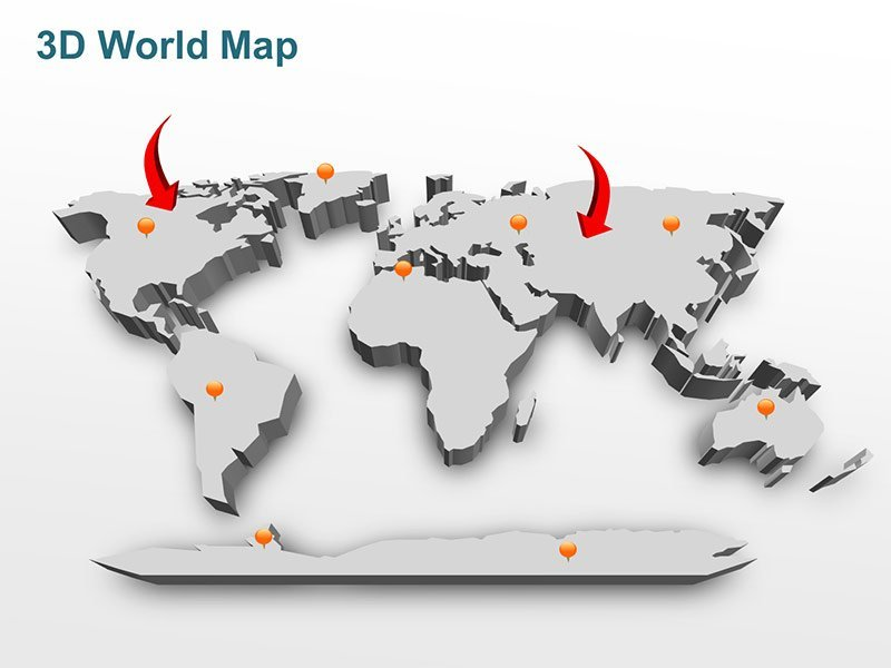 Editable 3D World Map in Grey Gradient PPT Slide