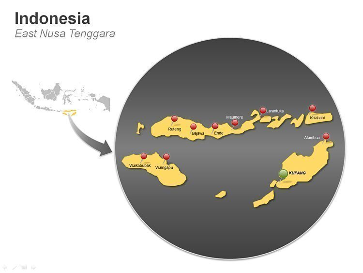Indonesia PPT Map - East Nusa Tenggara