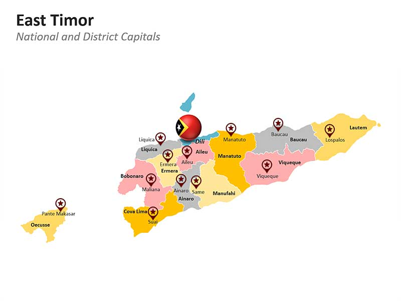 East Timor National and District Capitals PPT Map