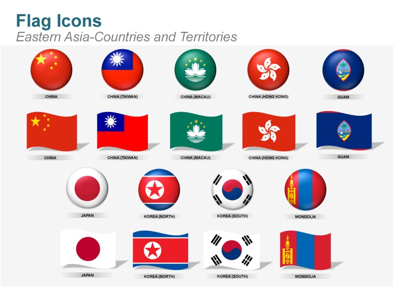 Eastern Asia Flag Icons