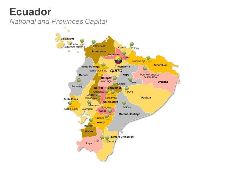 Ecuador PPT Map showing National and Provinces Capital
