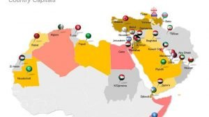Country Capital Map of MENA - Editable PPT