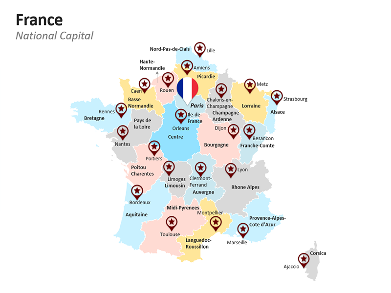 France Map - Paris - PPT Map