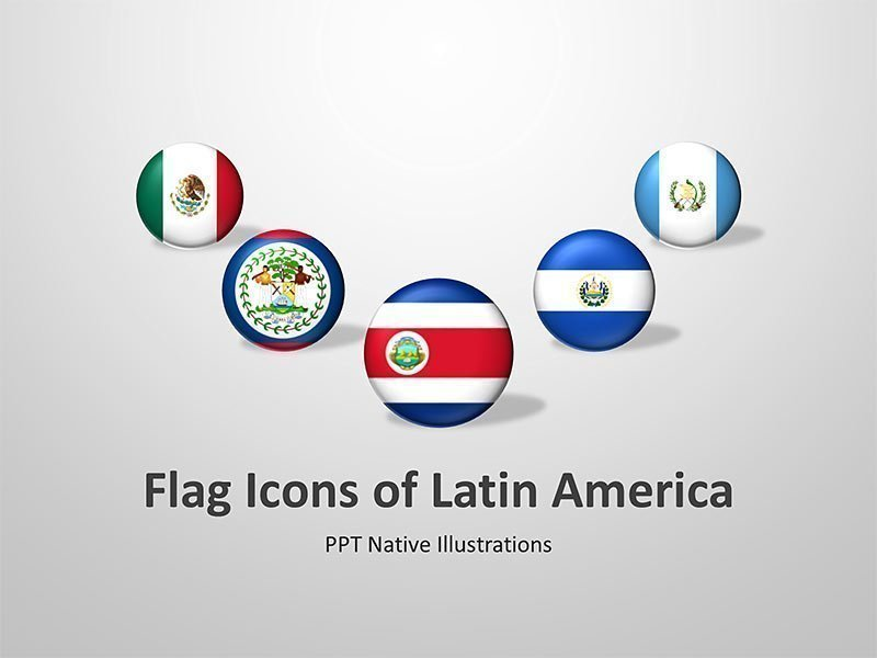 Latin American Flags and Icons: Editable PowerPoint Cliparts