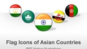 PowerPoint Illustrations - Asian Countries Flag Icons