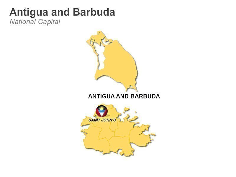 Map of Antiqua and Bermuda -Editable PPT Slide