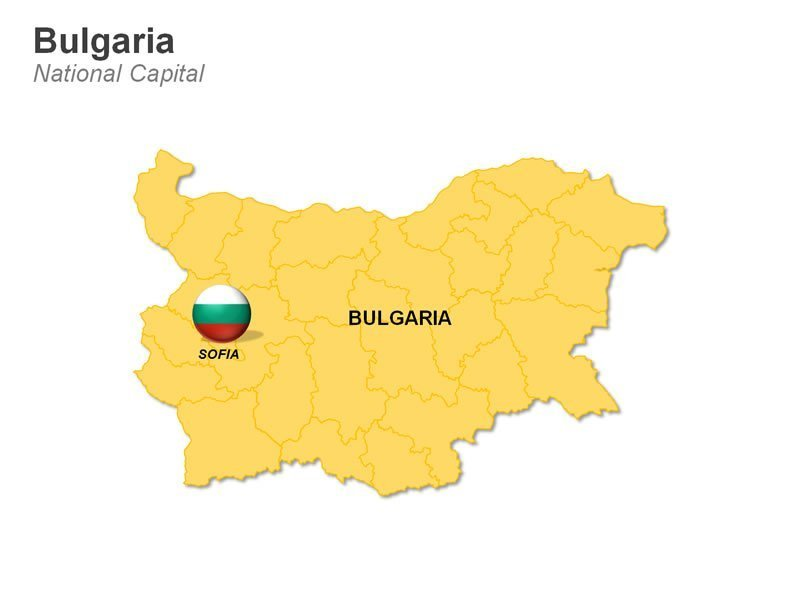 Editable PPT Map of Bulgaria