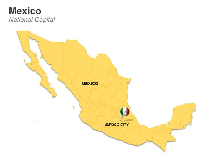Editable PowerPoint Map of Mexico