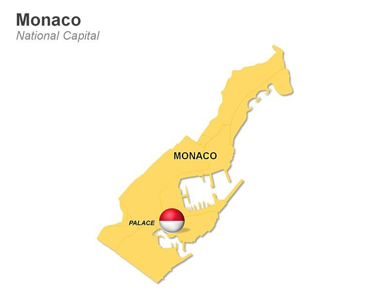 Editable PowerPoint Map of Monaco