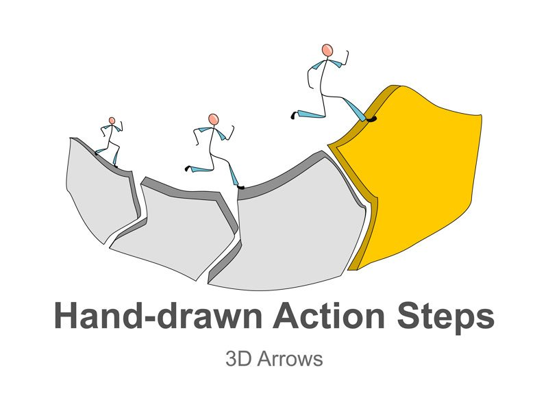 Process Flow Chart Diagram 3D Arrows PPT