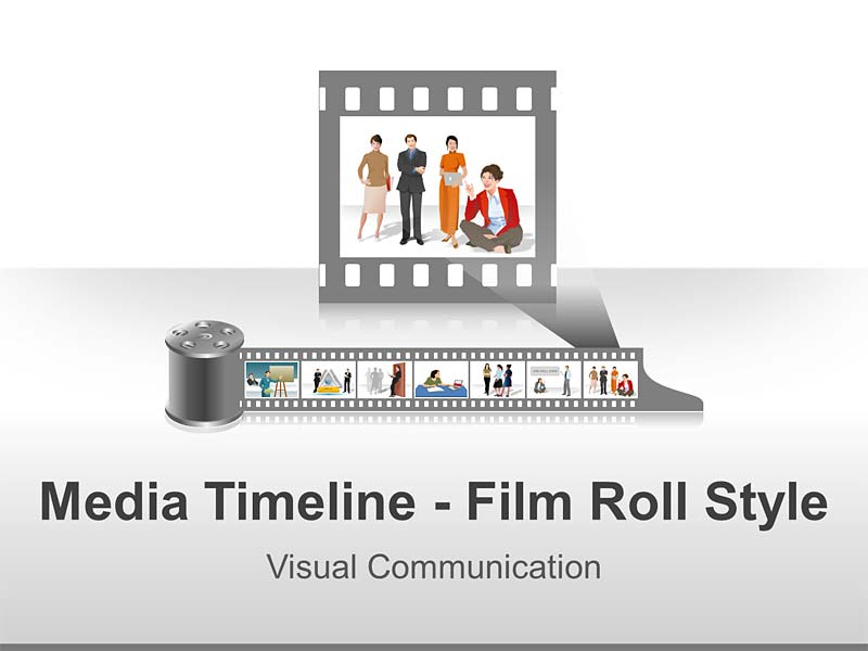 Media Timeline on Film Roll - Editable PPT Slides