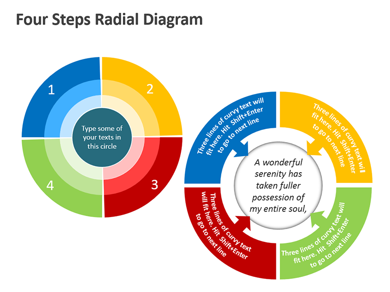 Radial Shape Diagrams - Editable PowerPoint Slide