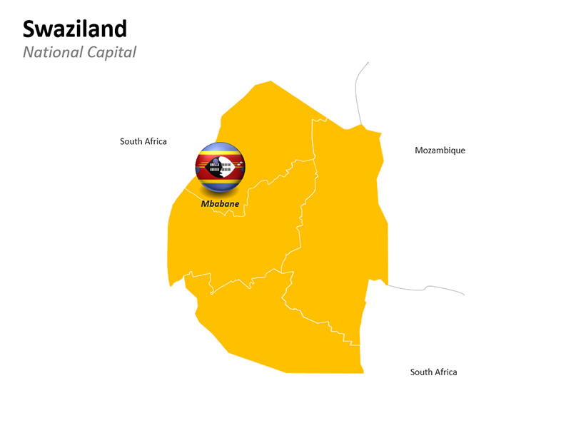 Swaziland Map with National Capital Mbabane - Editable PowerPoint Slide