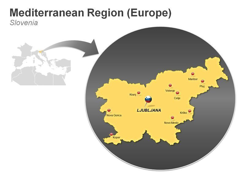 Editable PowerPoint Template of Mediterranean Region of Slovenia