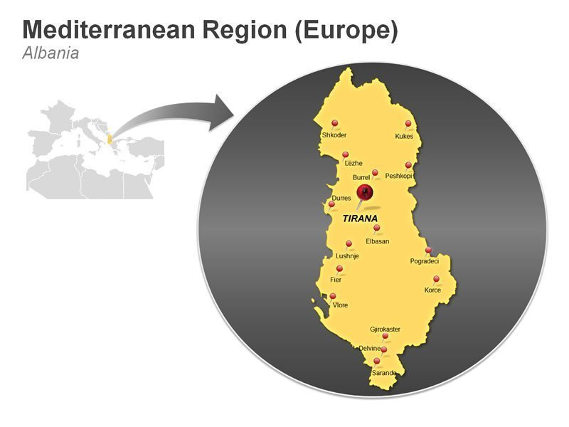 Editable PowerPoint Graphic of Mediterranean Region of Albania