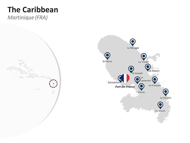 Editable PPT Slide of Map of Martinique in The Caribbean
