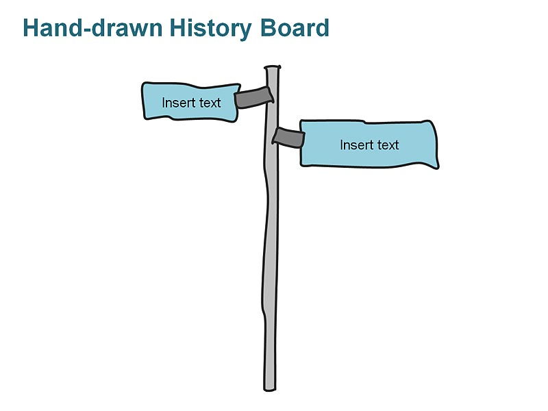 Editable PPT Template of Business History Timeline Flag Board Graphics - Two Events