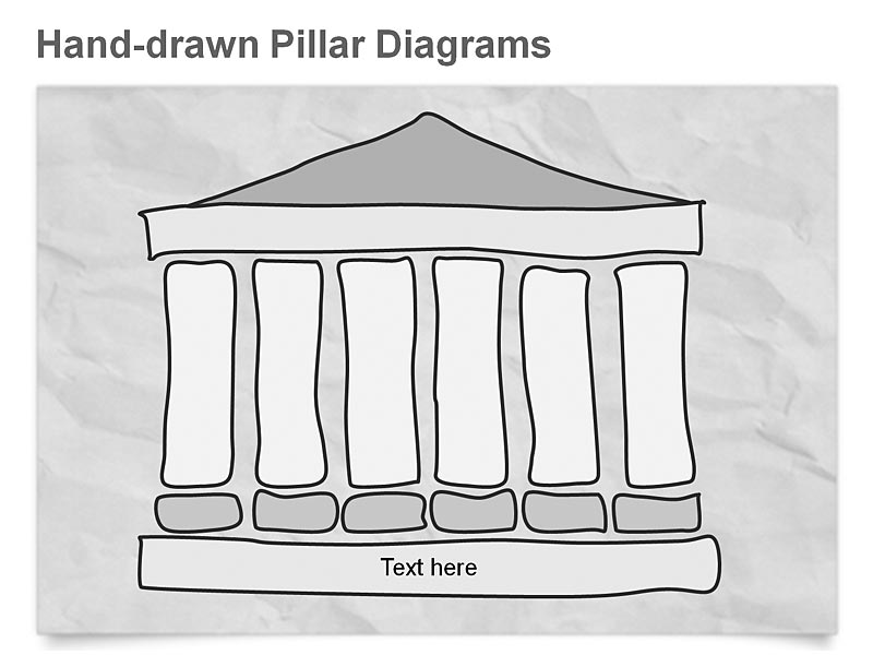 Editable PowerPoint Clipart of Pillar Diagrams representing Company's Structures