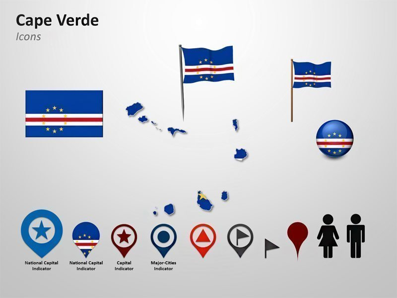 PowerPoint Map Slide of Cape Verde - Editable Flag Icons and Cliparts