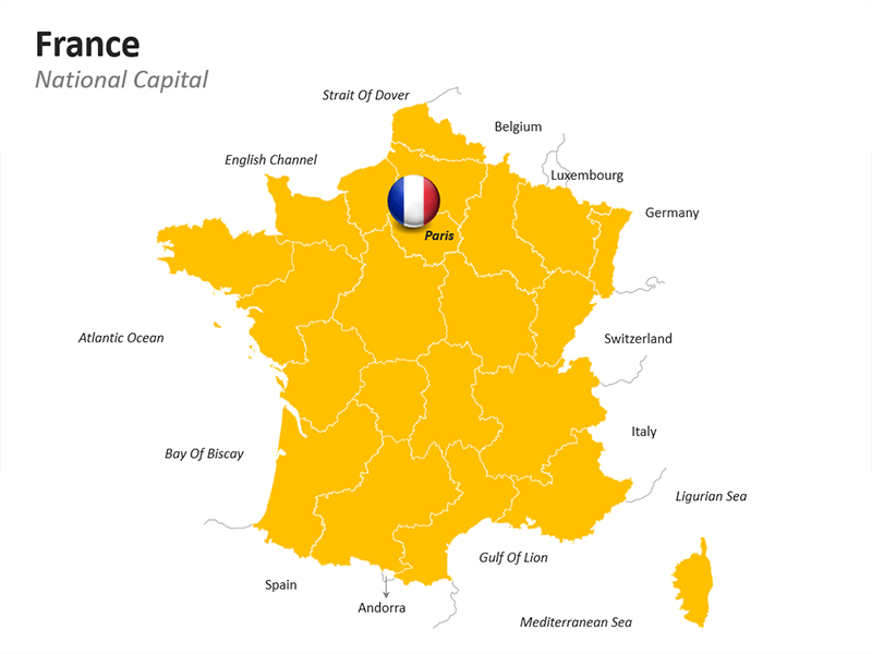 France Map with National Capital - Outline Map