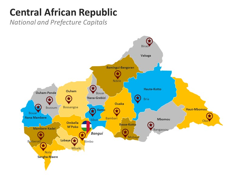 PPT Map Central African Republic - Prefecture