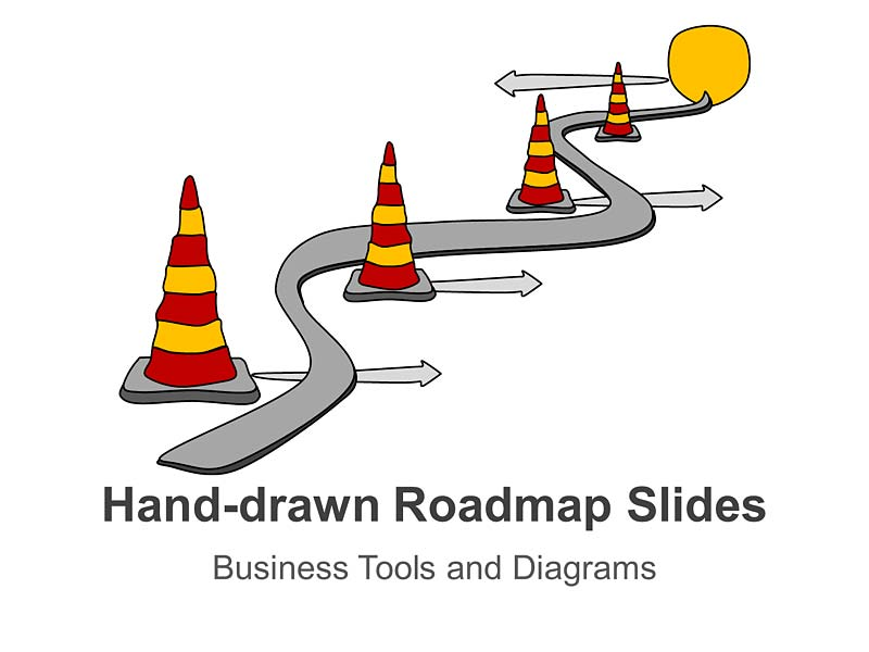 Editable PPT Slides on Hand-drawn Roadmap Analogy Slides