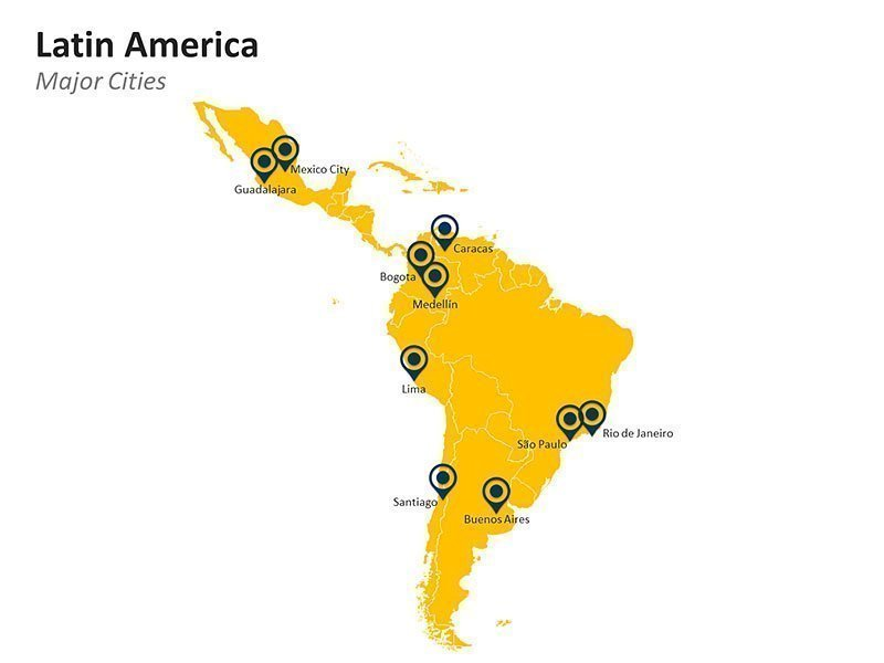 Editable Latin America Countries Map Template for PowerPoint Presentations - Major Cities