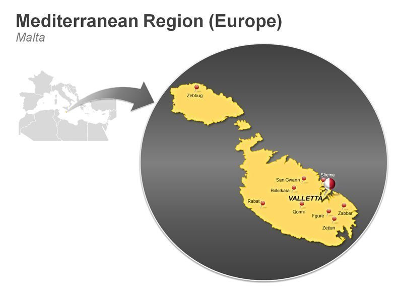 Editable Presentation Slide of Mediterranean Region of Malta