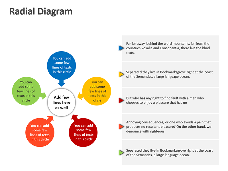 Panels Radial Diagrams - Editable PowerPoint Slide