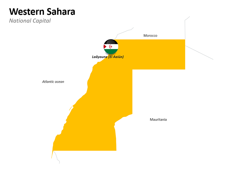 Western Sahara National Capital Africa Map - Editable PowerPoint Slide