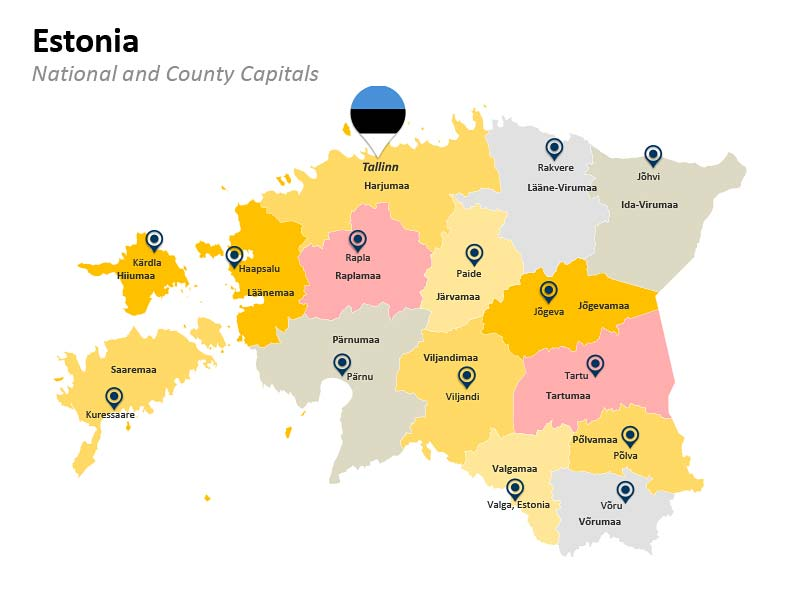 Estonia County Map in PowerPoint