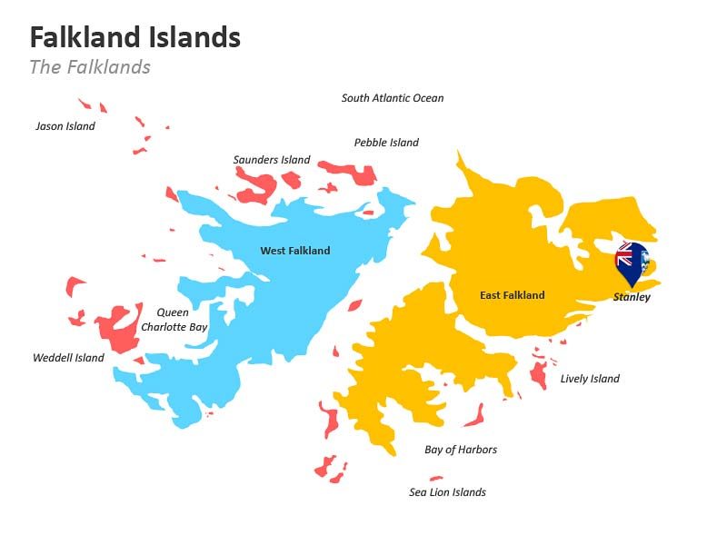 Falkland Island with Stanley Capital Map for PPT Presentations