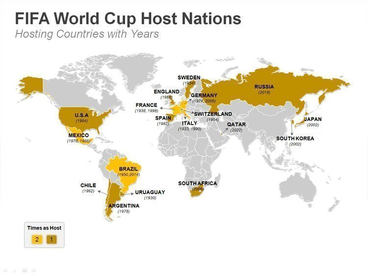 PPT Map of Continents and FIFA Host Nations